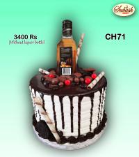 Chocolate with liquor bottle cake